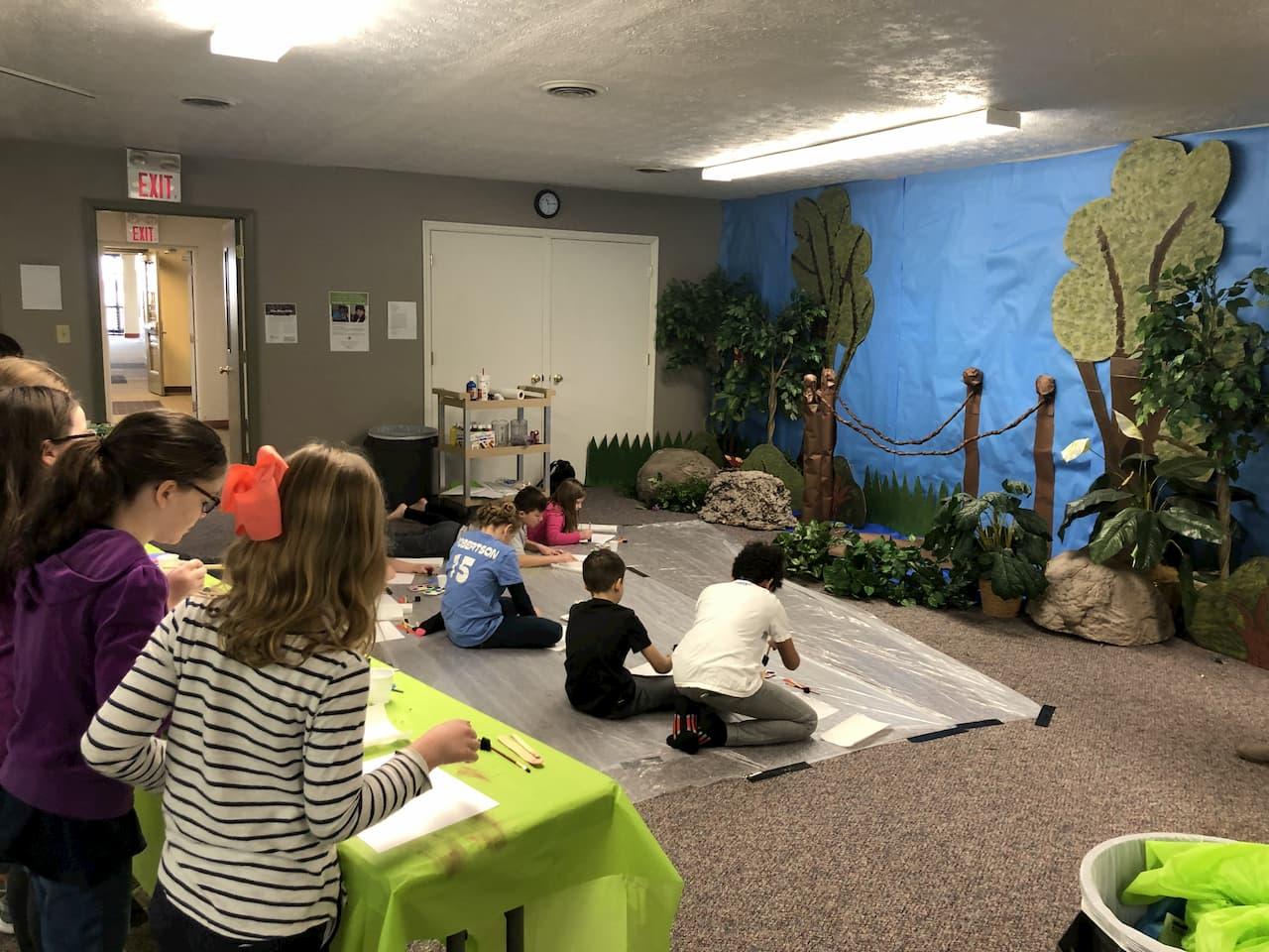 Homeschoolers in art group